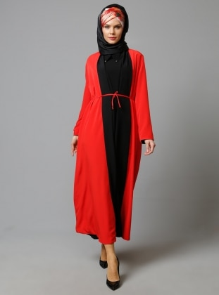 Coral - Black - Evening Abaya