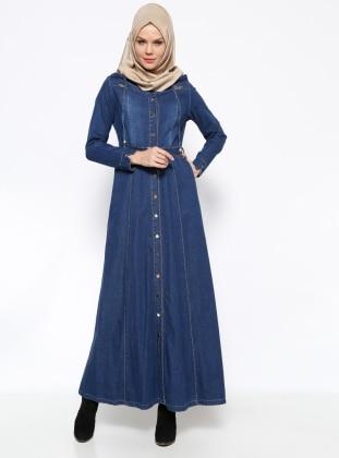 Düğmeli Kot Elbise - Lacivert Ginezza