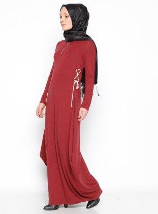 Fermuar Detaylı Elbise - Bordo