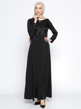 Fermuarlı Ferace - Siyah