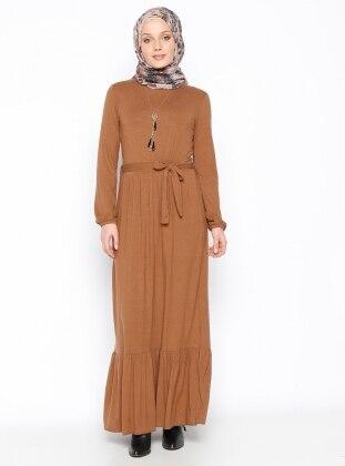 Fırfırlı Elbise - Camel