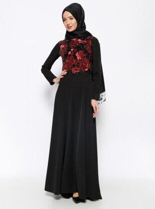 Özne Olmak Payetli Abiye Elbise - Siyah Kırmızı