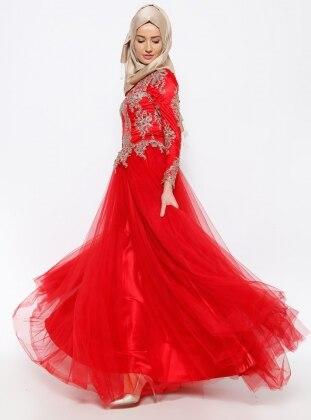 Taşlı Abiye Elbise - Kırmızı