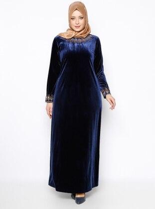 Taşlı Kadife Abiye Elbise - Lacivert Ginezza