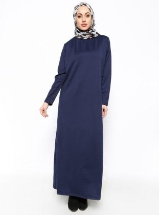 Dik Yaka Elbise - Lacivert