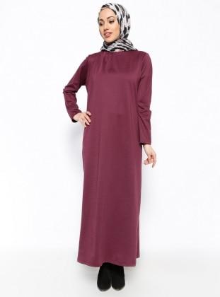 Dik Yaka Elbise - Mürdüm