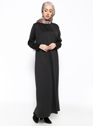 Dik Yaka Elbise - Siyah