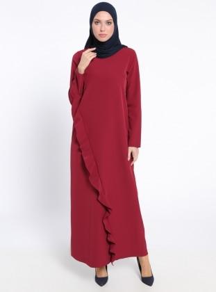 Fırfır Detaylı Elbise - Bordo - Neways Ürün Resmi
