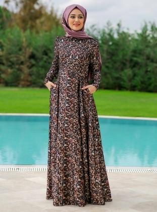 Plikaşe Elbise - Siyah