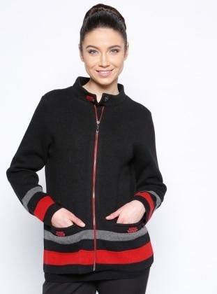 Yünlü Ceket - Siyah Kırmızı