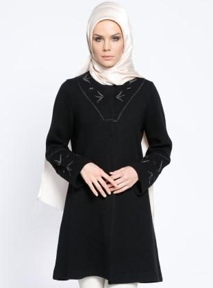Yünlü Uzun Triko Ceket - Siyah