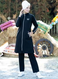 Black - Polo neck - Tracksuit Set