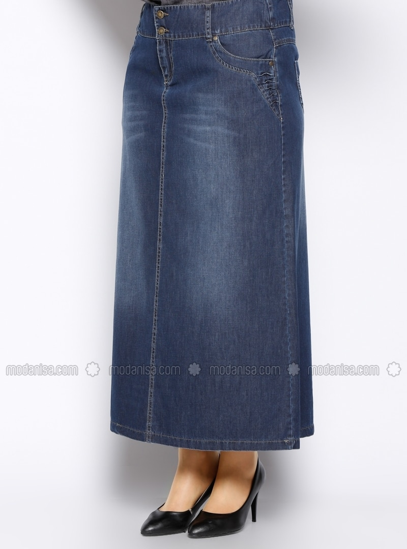 navy blue unlined cotton plus size skirt neways by
