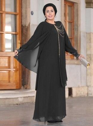 Zincirli Abiye Elbise - Siyah
