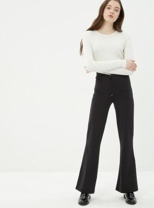 Bol Paça Pantolon - Siyah Koton