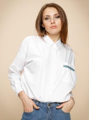 Gizli Düğmeli Gömlek - Beyaz
