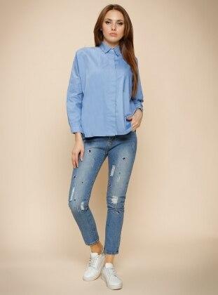 Gizli Düğmeli Gömlek - Mavi