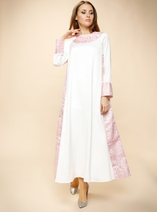 Jakarlı Elbise - Pembe