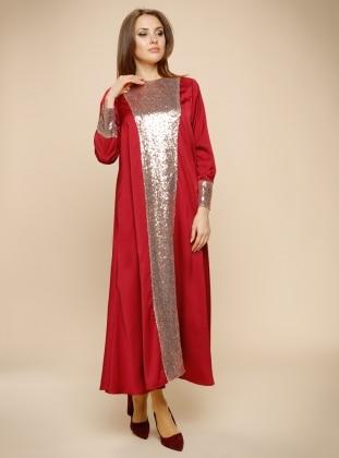 Pul Payet İşlemeli Abiye Elbise - Bordo