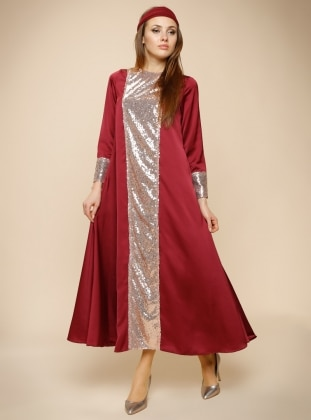 Pul Payet İşlemeli Abiye Elbise - Pembe