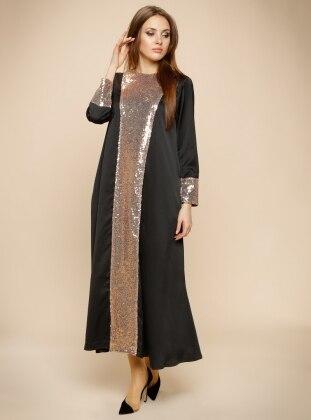 Pul Payet İşlemeli Abiye Elbise - Siyah