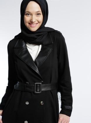 Deri Detaylı Ceket - Siyah
