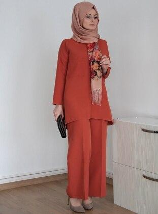 Floral Tunik&Pantolon İkili Takım - Kiremit Ulviye Portakal