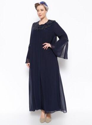 Drop Baskılı Abiye Elbise - Lacivert - he&de