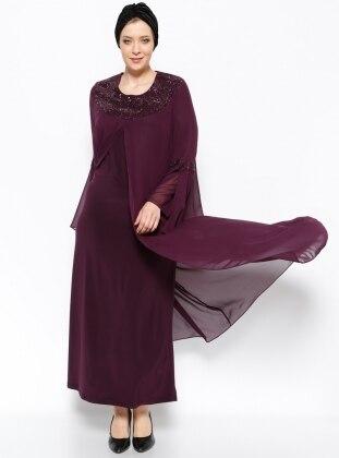 Drop Baskılı Abiye Elbise - Mürdüm - he&de