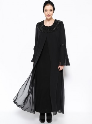 Black Unlined Crew Neck Muslim Plus Size Evening Dress