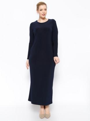 Düz Renk Elbise - Lacivert - he&de