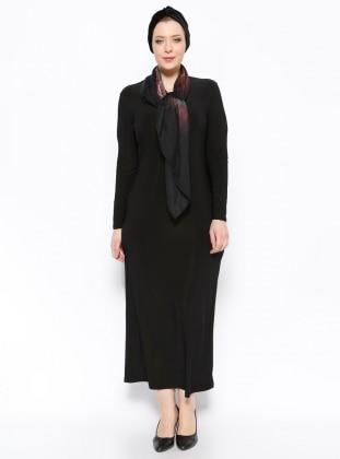 Düz Renk Elbise - Siyah - he&de