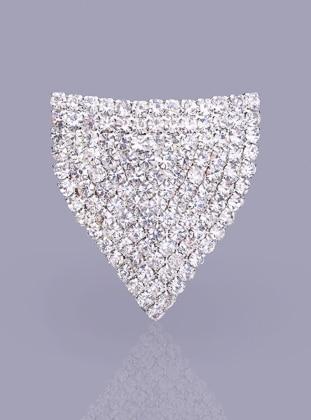 Kristal Taşlı Gümüş Kaplama Mıknatıslı Broş Fsg Takı