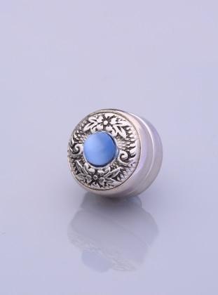 Blue - Silver tone - Scarf Accessory