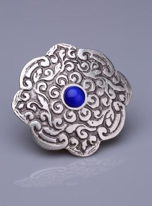 Fsg Takı Parlement Doğal Taşlı Gümüş Kaplama Mıknatıslı Broş - Gümüş