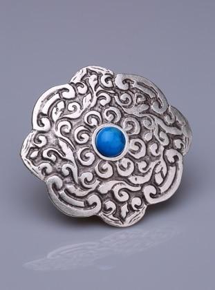 Fsg Takı Hovlit Turkuaz Doğal Taşlı Gümüş Kaplama Mıknatıslı Broş - Gümüş