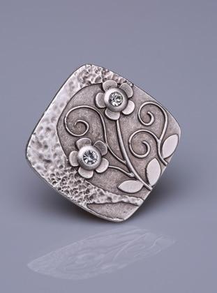 Gümüş Kaplama Mıknatıslı Broş- Gümüş Fsg Takı