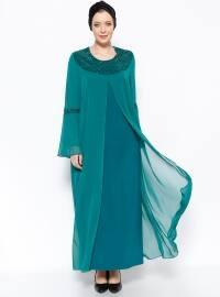 Drop Baskılı Abiye Elbise - Yeşil - he&de