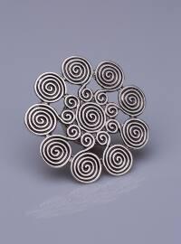 Gümüş Kaplama Mıknatıslı Broş - Gümüş - Fsg Takı
