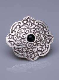 Siyah Doğal Taşlı Gümüş Kaplama Mıknatıslı Broş - Gümüş - Fsg Takı