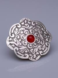 Osmanlı Kırmızısı Doğal Taşlı Gümüş Kaplama Mıknatıslı Broş - Gümüş - Fsg Takı