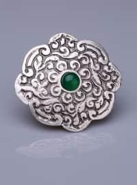 Yeşil Akik Doğal Taşlı Gümüş Kaplama Mıknatıslı Broş - Gümüş - Fsg Takı