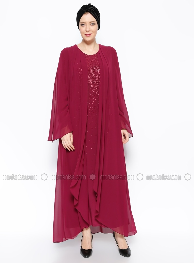 Pink - Unlined - Crew neck - Muslim Plus Size Evening Dress