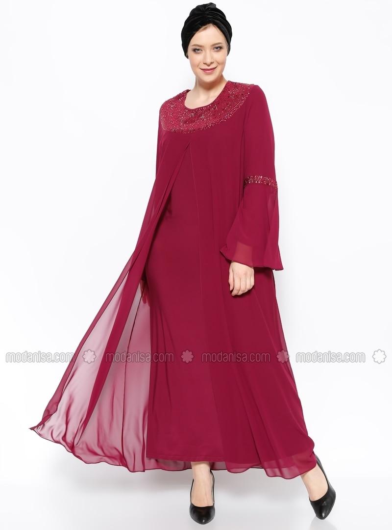 Crew Neck Unlined Pink Muslim Plus Size Evening Dress