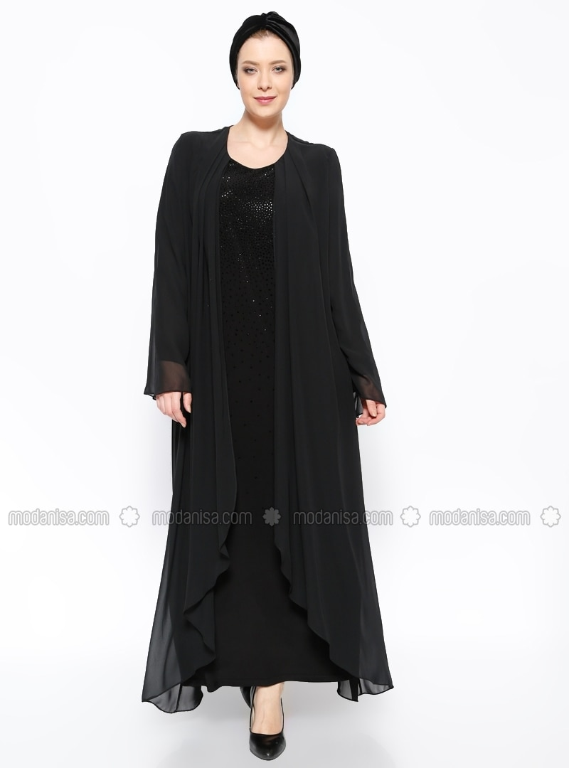 Unlined - Crew neck - Muslim Plus Size Evening Dress - he&de