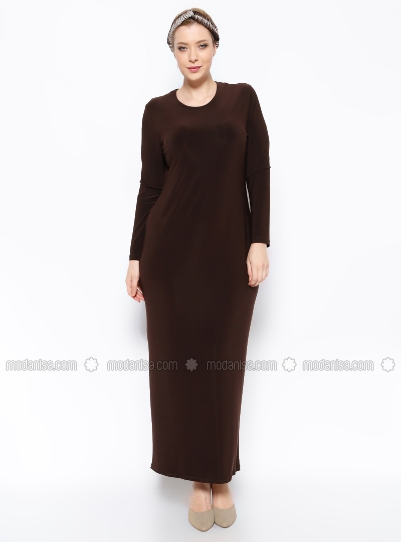 Unlined Crew Neck Plus Size Dress Hede