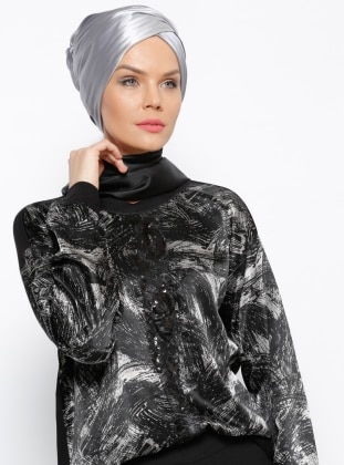 Desenli Bluz - Siyah Meryem Acar