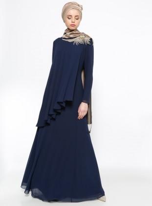 Sevdem Güpür Detaylı Şifon Abiye Elbise - Lacivert