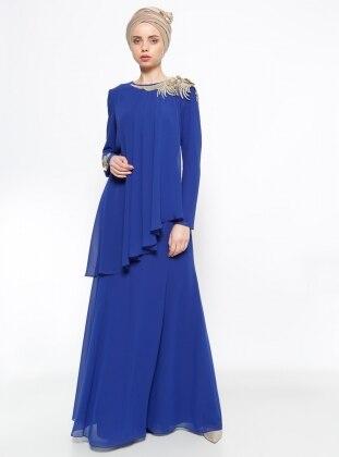 Güpür Detaylı Şifon Abiye Elbise - Saks