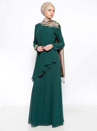 Güpür Detaylı Şifon Abiye Elbise - Yeşil